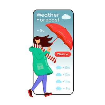 Weather forecast cartoon smartphone app screen. mobile phone display, flat character mockup. caucasian female in raincoat. woman with umbrella. meteorology application telephone interface