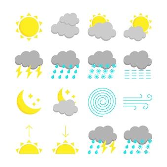 天気予報のカラフルなアイコンを設定します。白い背景で隔離の16フラットシンボル。ベクトルイラスト
