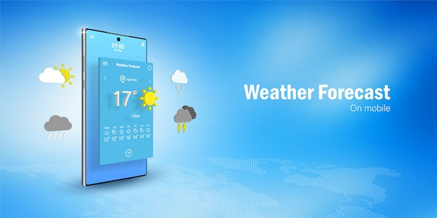 Weather forecast concept, smartphone displays  weather forecast application widget, icons, symbols