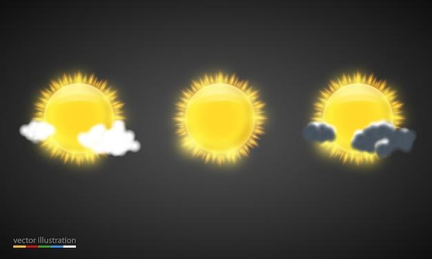 天気予報の要素。リアルなイラスト。