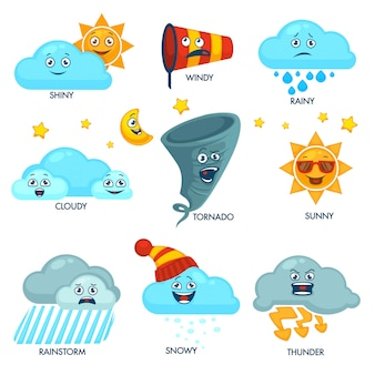Weather forecast elements with faces and signs set