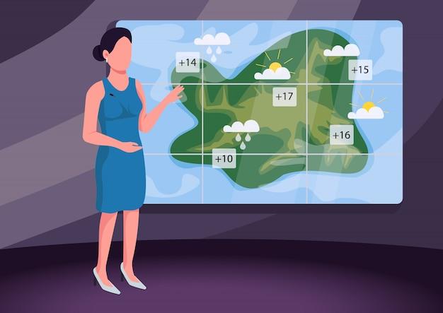 Weather forecast flat color illustration
