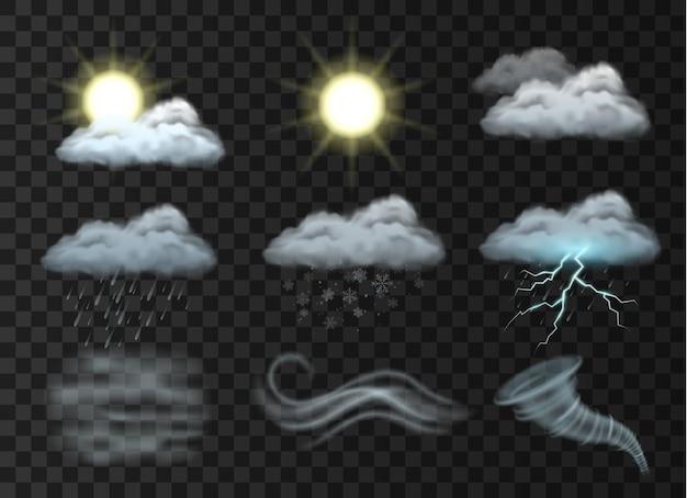 雲、太陽、雪、竜巻、霧、霧、雨、雪片、雨滴、透明な背景に稲妻が設定された天気予報アイコン。リアルなベクトルイラスト