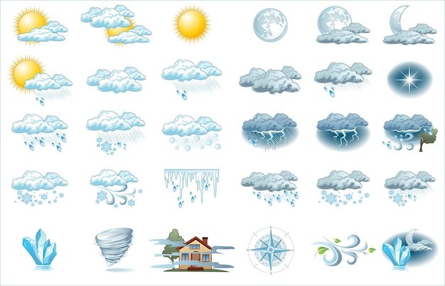 明るい背景の天気予報アイコン。インフォグラフィックの天気アイコン