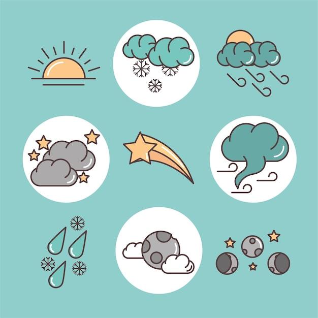 Значки прогноза погоды включают закат, дождливую ночь, луну и зимнюю иллюстрацию, линию и заливку