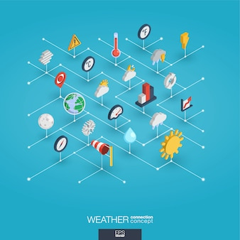 Weather forecast integrated 3d web icons. digital network isometric concept.