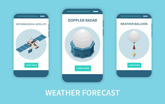 Weather forecast isometric banner set with radar and satellite