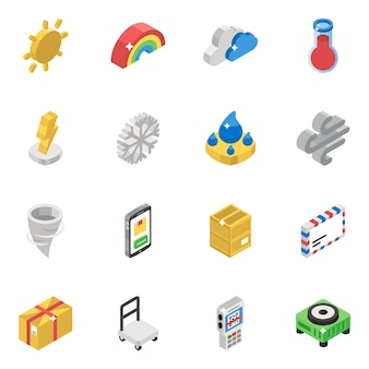 Weather forecast isometric vectors pack