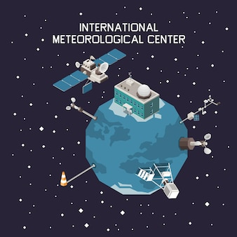 Weather forecast and meteorology isometric with international station symbols