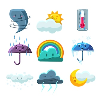 Weather forecast pictures set