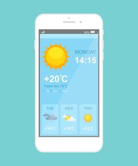 天気予報スマートフォンアプリケーションテンプレート。モバイルアプリページの青いインターフェース。天気の良い日、雨、曇りの雷雨の日の電話ディスプレイ。