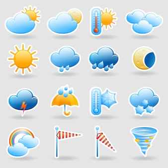 Weather forecast tablet mobile symbols widget icons set with clouds and rainbow