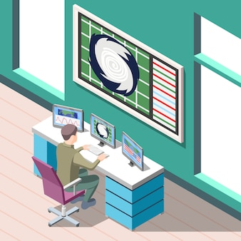 Weather forecaster at work place during research climate conditions isometric background with interior elements
