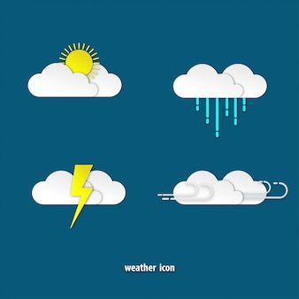 Weather icon paper art style