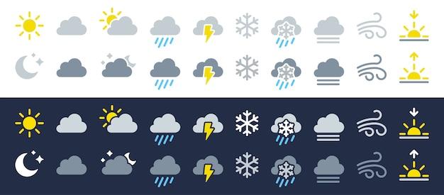 Weather icon set. flat symbols on white & dark backgrounds