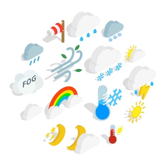 Weather icon set, isometric style