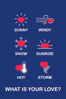 Weather icon states love status in flat design