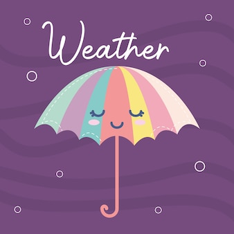 Weather icon of a umbrella smiling and weather lettering on a purple illustration design