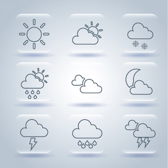 Weather icons over gray background vector illustration