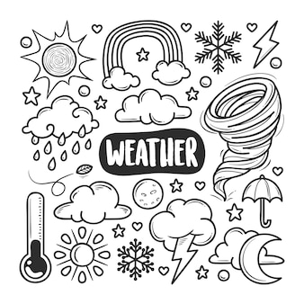 Weather icons hand drawn doodle coloring