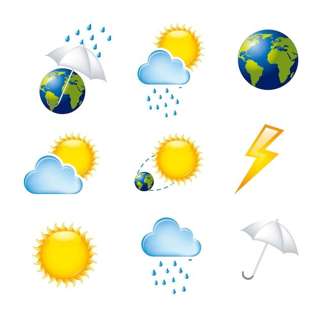 Погодные иконки, изолированных на белом фоне