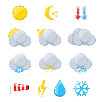 Weather icons for meteorology forecast with sun