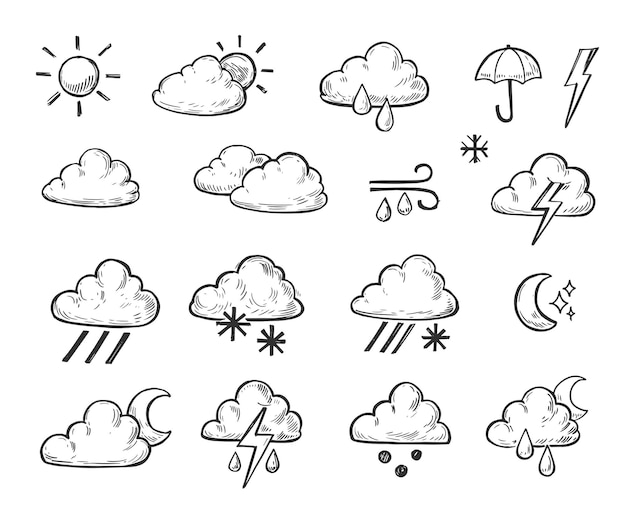 Weather icons outline. hand drawn illustration isolated on white