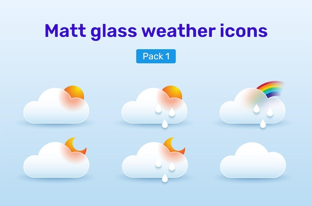 Weather icons set in glassmorphism style. pack 1