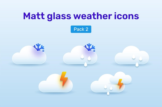 Weather icons set in glassmorphism style. pack 2