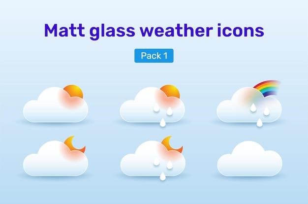 Набор иконок погоды в стиле стекломорфизма. пакет 1