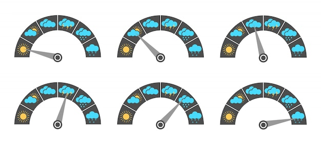 Weather indicator. a set of indicators with different weather conditions.