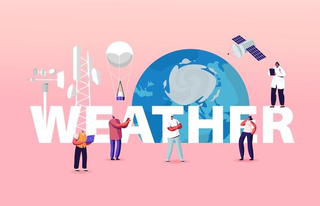 巨大な地球儀での小さなキャラクターのイラストと天気のレタリング。