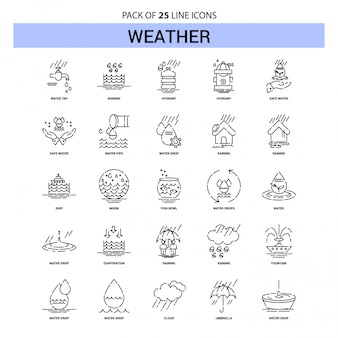 Weather line icon set - 25 dashed outline style