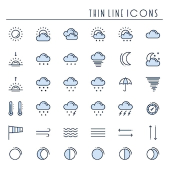 Weather pack line icons set. meteorology. weather forecast symbols.