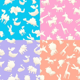 Weather patterns with clouds. seamless patterns with clouds  different shapes