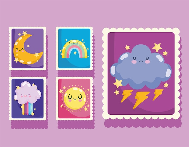 Weather post stamp icons with cute rainbow cloud moon and sun cartoon