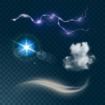 Weather realistic set isolated on dark transparent background  illustration. realistic cloud, sun flare, wind and lightning.