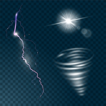 Weather realistic set isolated on dark transparent background  illustration. realistic sun flare, tornado and lightning.