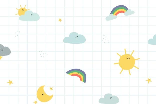 아이들을위한 날씨 원활한 패턴 배경 벡터 귀여운 낙서 그림