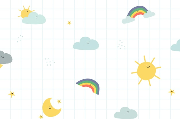 Weather seamless pattern background vector cute doodle illustration for kids