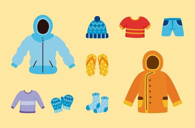 Weather seasonal set nine icons