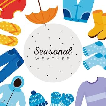 Weather seasons icons around frame