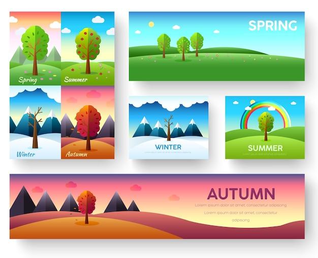 Weather seasons icons on nature ecology background.