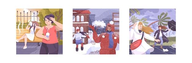 바람이 부는 야외 풍경과 과열되고 추워지는 사람들이있는 평면 구성의 날씨 세트