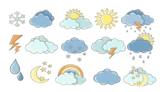 天気セット。白い雲、葉の露、霧の兆候、予測設計のための昼と夜。太陽と雷雨のステッカー。カラフルな漫画の天気アイコンコレクション。