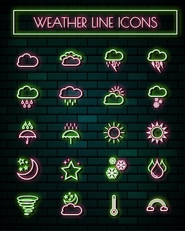 Weather sign thin neon glowing line icons set.