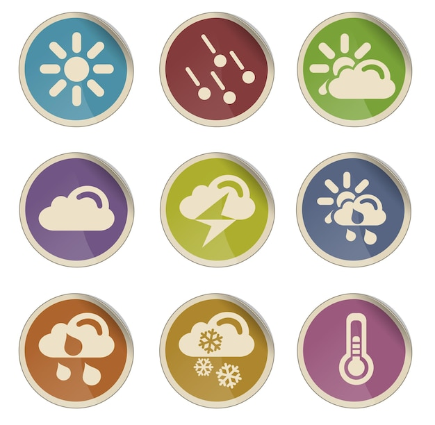 Weather simple vector icon set