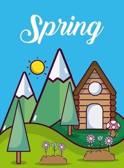 Weather spring landscape cute card