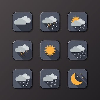 Weather vector icons. sun, moon, clouds, rain, snow. day and night concept.