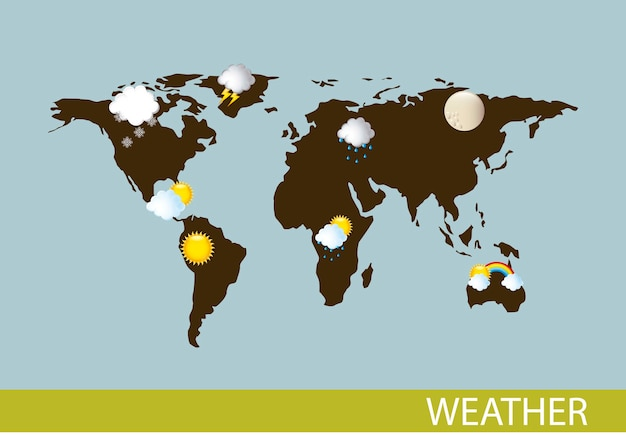 Weather with map over blue background vector illustration